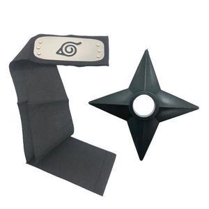 Set Bandana Naruto Simbolul frunzelor, 90 cm si Shuriken Ninja din plastic, Negru imagine