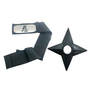 Set Bantana Naruto Simbolul Razboiului, 107 cm si Shuriken Ninja din plastic, Negru - Shop Like A Pro imagine