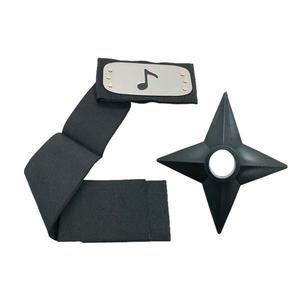 Set Bantana Naruto Simbolul Sunetului, 107 cm si Shuriken Ninja din plastic, Negru - Shop Like A Pro imagine