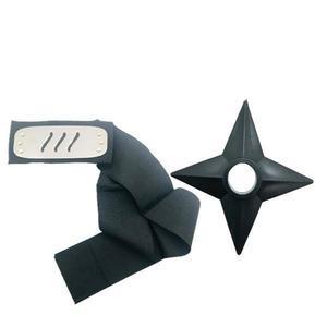 Set Bantana Naruto Simbolul Izvorului Fierbinte, 107 cm si Shuriken Ninja din plastic, Negru - Shop Like A Pro imagine