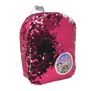 Ghiozdan LOL Surprise pentru gradinita cu paiete reversibile albe si roz 26 cm imagine