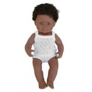 Miniland - Baby afroamerican (baiat) 38 cm imagine
