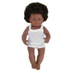 Miniland - Baby afroamerican (fata) 38 cm imagine