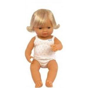 Miniland - Baby european (fata) Papusa 38 cm imagine