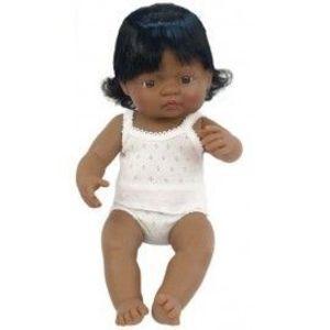 Miniland - Baby hispanic (fata) Papusa 38 cm imagine