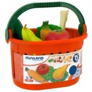 Miniland - Cos cu fructe si legume de jucarie imagine
