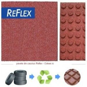 Pavele cauciuc Reflex tip Placa Flexibila 1 cm Rosu imagine