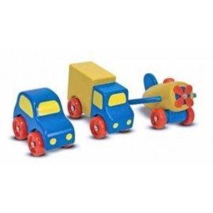 Set vehicule din lemn - Melissa & Doug imagine